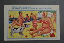 R&L Postcard: Comic, Comicard 2425 BBW Big Big Boob Woman, Dog Sniffing Girl