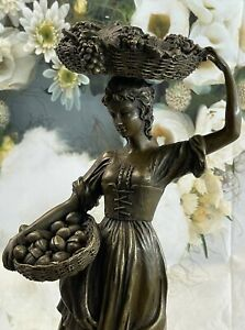 Vintage Cast Bronze Young Lady With Fruit Basket With Wind Blowing Signed Deal