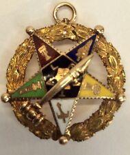 Gold Eastern  Star Mason Pin/Pendent 1923 Enamel (J492)