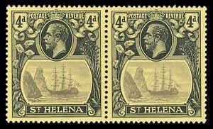 St Helena 1922 KGV 4d pair Row 4/6 TORN FLAG mvlh cat £290 ($390). SG 92,92b.