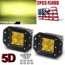 "5"" Flush Mount Yellow LED Work Light Bar Fog Pods Offroad Reverse Lamp Truck 4WD"