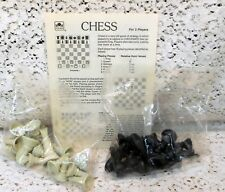 BRAND NEW Gray and Black Plastic Chess Men Pieces and Instructions