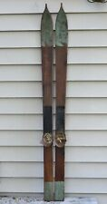 Antique Wooden Skis 47.5in with Hand Carved Tips and Original Bindings 1900's