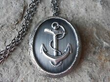 STUNNING ANTIQUE SILVER ANCHOR LOCKET!!!  NAVAL, VACATION, NAUTICAL - QUALITY