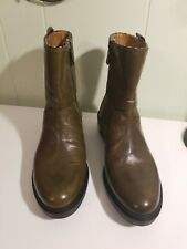 Women's ALBERTO FERMANI Olive Green leather short boots sz.36