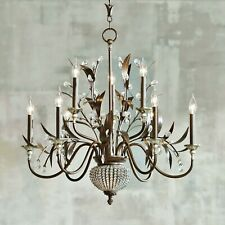 "FRENCH ANTIQUE BRONZE GOLD METAL LEAVES CRYSTALS GLOBE 11 LIGHT CHANDELIER 32""W"