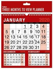 2020 3 Month to View Wide Spiral Bound Large Print Office Wall Planner Calendar