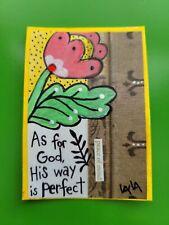 ORIGINAL ACEO Folk Art Bible Scripture God Way Perfect Flower Peace Tulip Christ