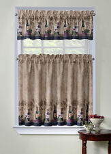 "Cabernet COMPLETE TIER & VALANC SET 36"" L KITCHEN CURTAIN WINE BOTTLES & GRAPES"