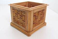 Flower Pot Planter Wood Handmade Individual Piece Mosaic (27)