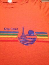 Vintage 80s KINGS ISLAND CINCINNATI OHIO RAINBOW T-Shirt M Orange Sun Thin