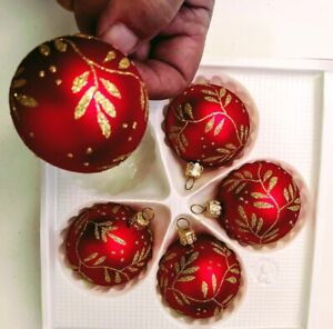 box of 5 Glass Christmas baubles made in Europe top quality hand painted.