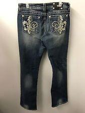 Miss Me Jeans 34 Bootcut Rhinestones White Leather Fleur-di-lis Euc