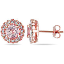 Pink Sterling Silver 1 3/4 CT TGW Morganite & 1/10 ct TDW Diamond Stud Earrings
