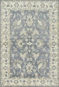 Oushak Rug, 6'x9', Blue, Hand-Knotted Wool Pile