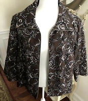 Studio Works Women's Plus Size 2X Zip up Jacket Brown Black Beige White EUC!