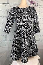 Copper Key Womens A Line Dress by Dillards Black/White Graphics 3/4 Sleeve Sz L
