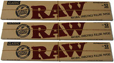 "3 PACKS OF 12 INCH 12""  RAW BROWN UNBLEACHED NATURAL ROLLING PAPERS (60 PAPERS)"