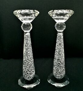 Silver Crushed Crystal Diamond Tealight Candle Holders Set, Diamante Bling H23cm