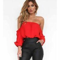 Womens Trendy Red Off The Shoulder Flowy Summer Crop Top W/ Ruffles