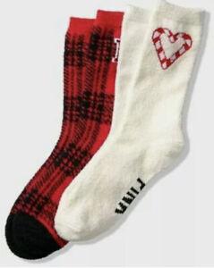 Victoria's Secret PINK Marshmallow Crew Socks 2 Pairs Gift Set Red White SEALED
