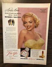 1952 MARILYN MONROE Print Ad TRU-GLO Liquid Make-Up Excellent Color (PH1)