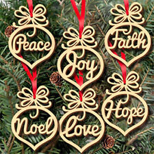 6pcs Wooden Ornament Hollow Letter Tree Hanging Christmas Pendant Decorations ZB