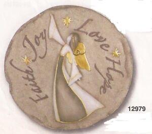 Faith Joy Love Hope Resin Stepping Stone Wall Plaque,NIB [12979] OoP Spoontiques