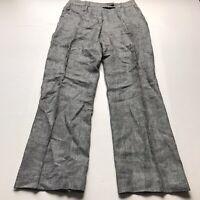 "JJB Benson Gray Black 100% Linen Trouser Pants Size 40 32"" Waist A1011"