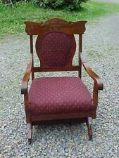ANTIQUE VICTORIAN PLATFORM ROCKER CHERRY BIRCH CARVED BACK NICE CONDITION