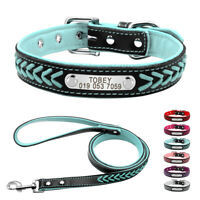 Braided Leather Personalized Dog Collar & Leash Pink Blue Red Purple XS S M L XL