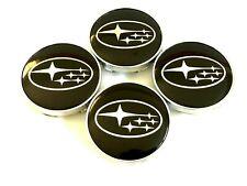"4 pcs, Subaru 60 MM / 2.36"" Black Chrome Star Logo - Legacy Outback Tribeca"