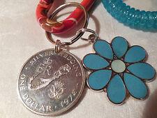 Genuine Bermuda One Dollar Silver Coin Silver Wedding 1972 Key Chain Set