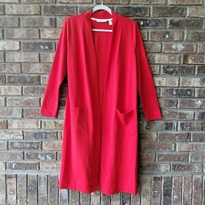 Isaac Mizrahi Live! Open Front Long Knit Cardigan with Pockets Red Small A384892