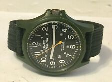 """Vintage Timex Expedition """"Indiglo"""" Olive Mens Wristwatch 905 23 Working+Beauty!"""