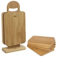 Set of 6 Bamboo Chopping Board With Stand Mats Wooden Cutting Dicing Sturdy New