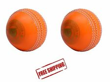 2X SPIN/PVC INDOOR OUTDOOR PRACTICE SKILL LEARNING TRAINING CRICKET BALL ORANGE