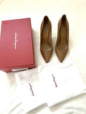 SALVATORE FERRAGAMO. Size US 8.5 B. Brown. Heels. With Box.