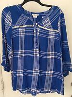 Como Woman Plus 1X Cotton Blue Color Texture Plaid Print Tunic Top NWT