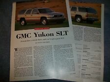 "2000 GMC Yukon SLT Preview Test info Article ""...You've Got A Great SUV"""