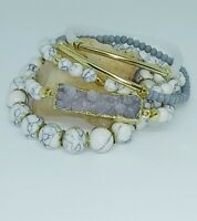 WHITE HOWLITE DRUZY CRYSTAL STACKED BRACELET SET