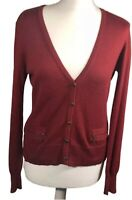 Laura Ashley Women's Ladies Silk Cotton Cardigan Smart Office Red size  UK 14