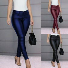 Punk Womens Sexy PU Leather Trousers Ladies Push Up Skinny Leggings Pencil Pants