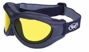 Big Ben Fitover Black Frame Motorcycle Goggles with Yellow Lenses Face Shield