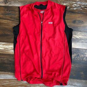Louis Garneau Full Zip Sleeveless Red Black Cycling Jersey Size XL