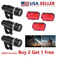 5 LED Lamp Bike Bicycle Front Head Light+Rear Waterproof Safety Flashlight USA