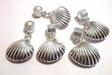 5 pcs Lot European Charm  Beads  SEASHELL SEA SHELL dangle Ship from USA #C601