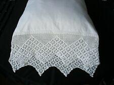New White Hand Crochet PillowCases Cotton Sateen Standard Queen King Pair H3-2#
