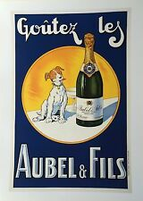 French Poster Print Art Deco 1930s 24x18 Taste Champagne Drunk Dog Paris