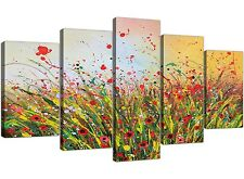 Summertime Floral Canvas Pictures for your Living Room - 5 Piece